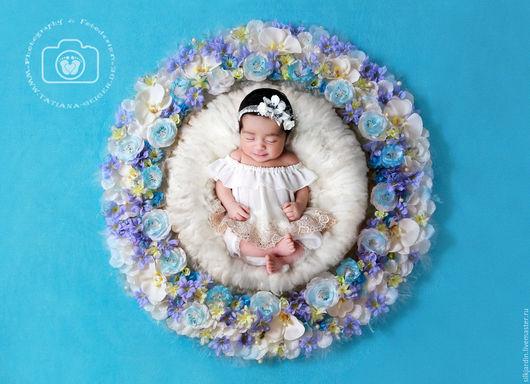 Для новорожденных, ручной работы. Ярмарка Мастеров - ручная работа. Купить Цветочное гнездо для фотосессий новорожденных. Handmade. Комбинированный, фотореквизит