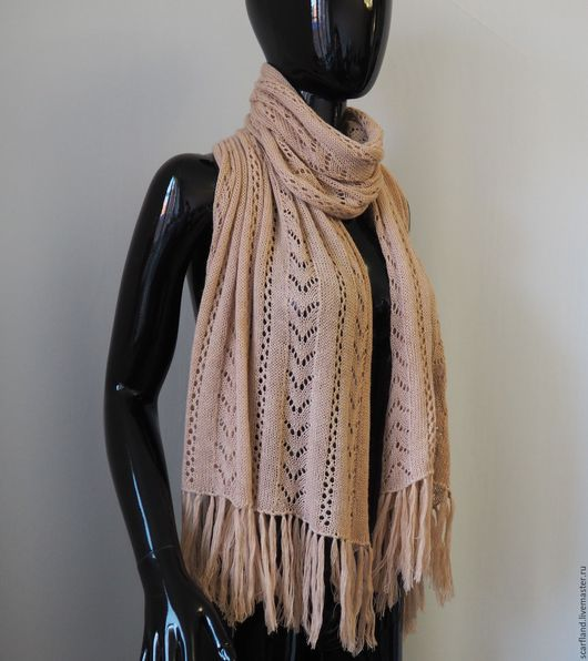 Шали, палантины ручной работы. Ярмарка Мастеров - ручная работа. Купить Ажурный вязаный шарф/палантин кремово-бежевого цвета. Handmade.