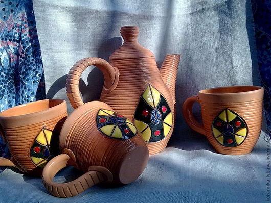 Сервизы, чайные пары ручной работы. Ярмарка Мастеров - ручная работа. Купить Чайный набор.. Handmade. Коричневый, сервиз