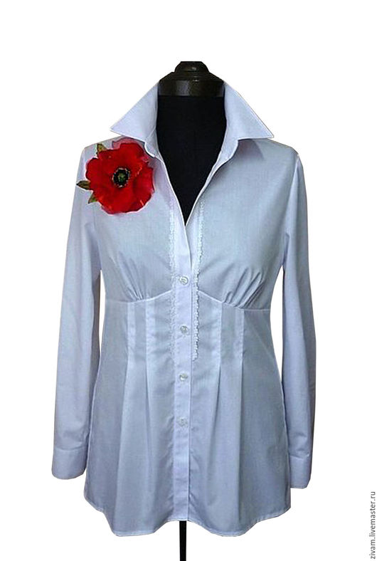 """Блузки ручной работы. Ярмарка Мастеров - ручная работа. Купить Белая блуза-рубашка  """"Офисная"""". Handmade. Белый, офисная блуза"""