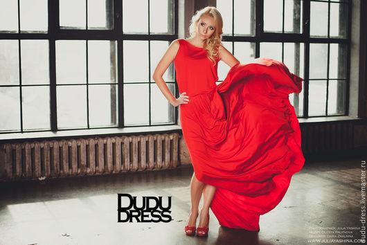 Платья ручной работы. Ярмарка Мастеров - ручная работа. Купить Красное платье в пол качели на спине. Handmade. Ярко-красный
