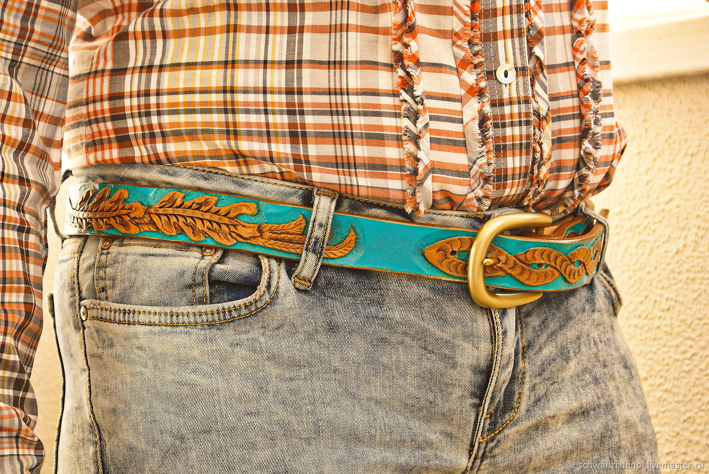 Women's leather belt handmade, Straps, Krasnodar,  Фото №1
