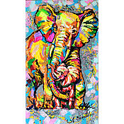 "Картины и панно handmade. Livemaster - original item Picture with elephants ""My mother is the best!"". Handmade."