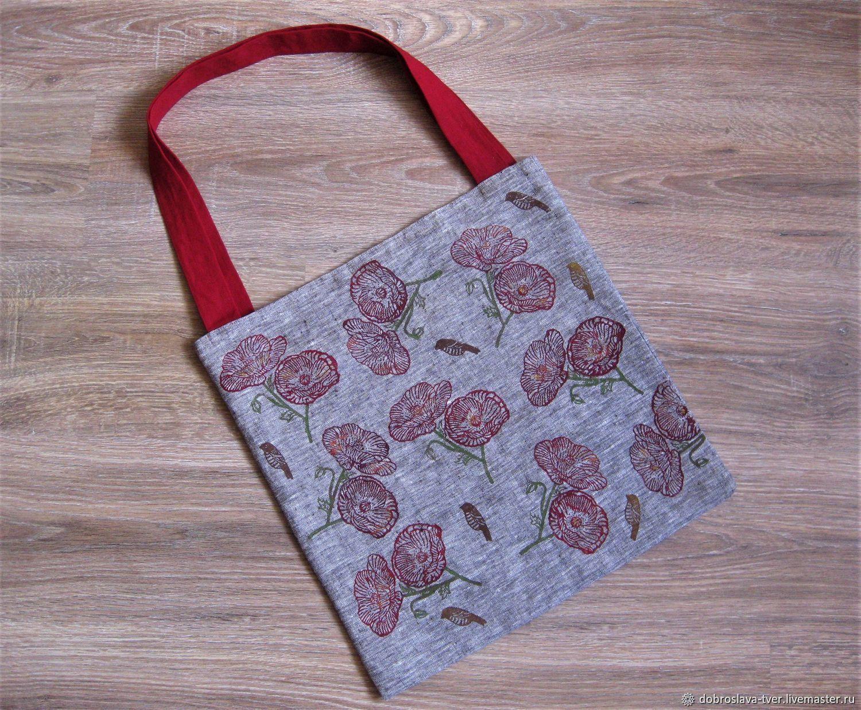 """""""Маки"""", льняная сумка-шоппер с набойкой, эко-сумка, Сумка через плечо, Тверь,  Фото №1"""