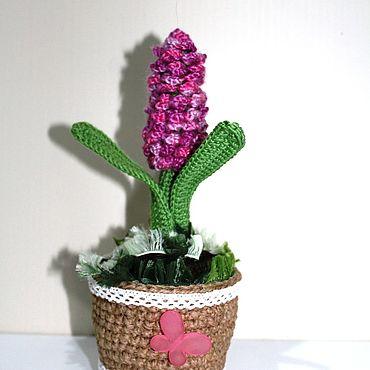 "Flowers and floristry handmade. Livemaster - original item Интерьерная композиция "" Гиацинт"" вязаная. Handmade."