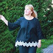 Одежда handmade. Livemaster - original item Pants linen, pants-boho black len.. Handmade.