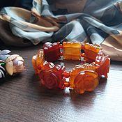 Украшения handmade. Livemaster - original item Carved carnelian bracelet. Handmade.