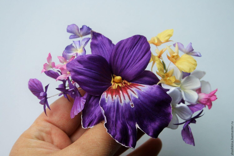 Орхидеи из шелка. Цветы из шелка, шелковые цветы, орхидеи из ткани