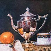 handmade. Livemaster - original item Oil painting Tea still life. Handmade.