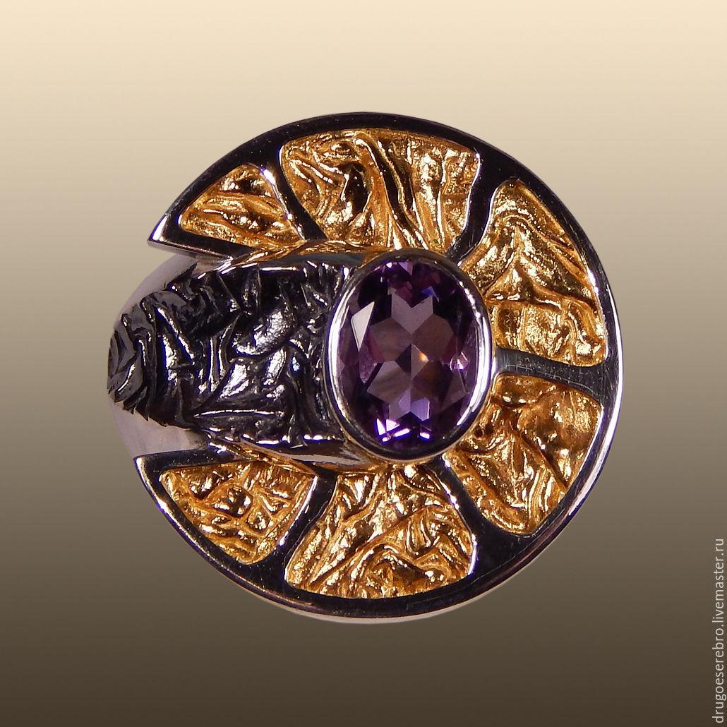 кольцо с топазом коричневым
