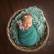 Работы для детей, handmade. Livemaster - original item Gauze for newborn photo shoot celadon. Handmade.