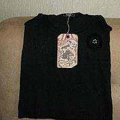 Винтажная одежда ручной работы. Ярмарка Мастеров - ручная работа Винтажная одежда: Черный топ с люрексом и камнями Франция. Handmade.