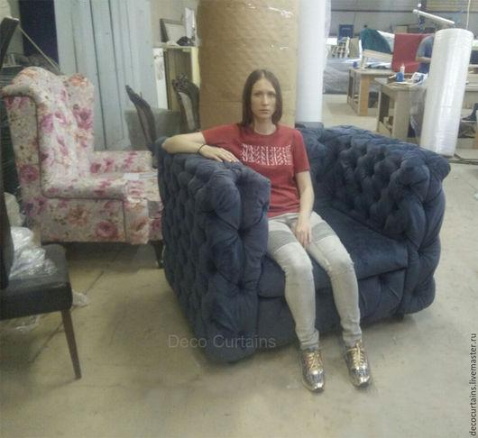 Мебель ручной работы. Ярмарка Мастеров - ручная работа. Купить Огромное Кресло с каретной стяжкой(копия). Handmade. Желтый