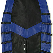 handmade. Livemaster - original item Pencil skirt leather black and blue with straps. Handmade.