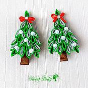 Работы для детей, ручной работы. Ярмарка Мастеров - ручная работа Новогодний подарок девочке, заколки елочки, зажимы для волос. Handmade.