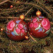 Русский стиль handmade. Livemaster - original item Christmas tree ball made of wood author`s painting in Russian style. Handmade.