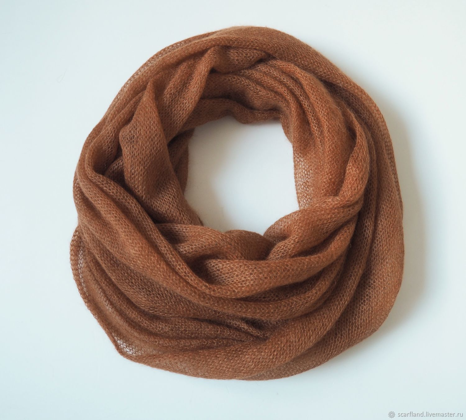 Snudy: Red-brown knitted snood 2 turns of kid mohair, Snudy1, Cheboksary,  Фото №1