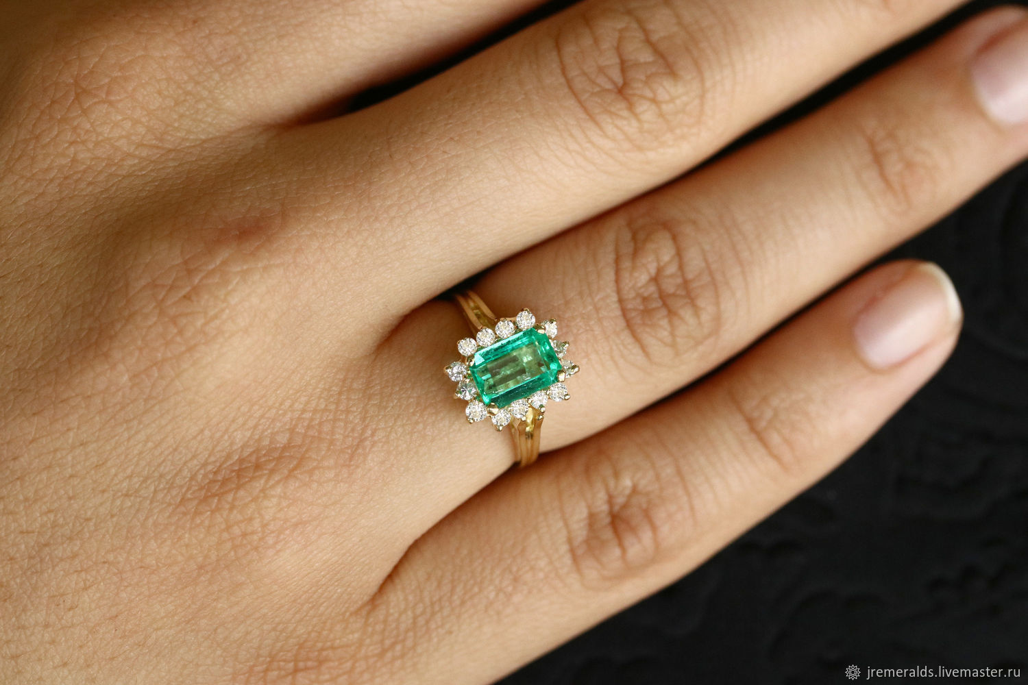 1.84 Cts Natural Rectangle Shape Bright Green Emerald & Round Engageme, Rings, West Palm Beach,  Фото №1