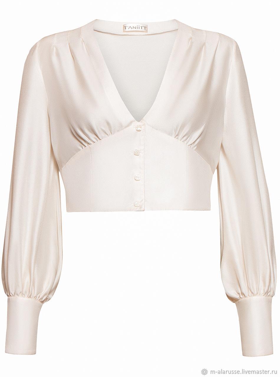a5566650521 Blouses handmade. Livemaster - handmade. Buy Silk blouse with V-neck.White  Blouses handmade.