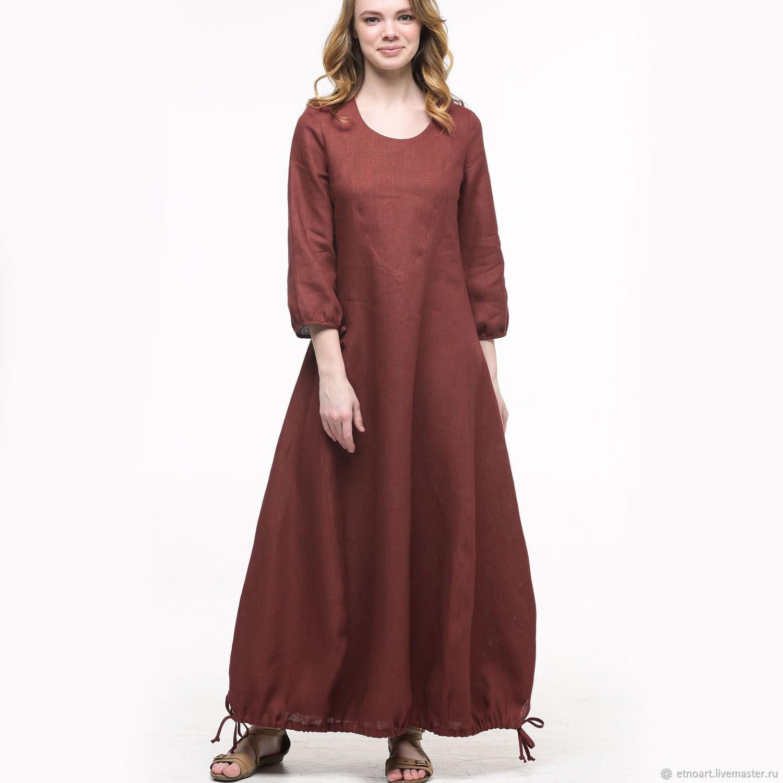 Коричневое льняное платье в стиле бохо, Платья, Томск,  Фото №1