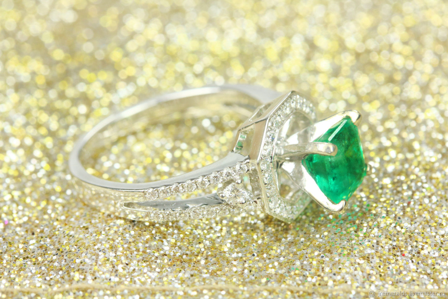 2.17tcw Green Natural Emerald cut & Diamond Halo Engagement Ring 14k W, Rings, West Palm Beach,  Фото №1