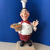 Куклы и игрушки ручной работы. Ярмарка Мастеров - ручная работа Повар с пиццей. Handmade.