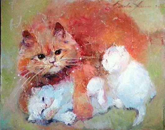 Животные ручной работы. Ярмарка Мастеров - ручная работа. Купить Мама. Handmade. Кот, котенок, радость, холст на подрамнике