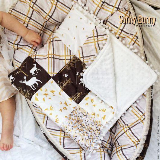 Пледы и одеяла ручной работы. Ярмарка Мастеров - ручная работа. Купить Лоскутное одеяло Золотисто-коричневый. Handmade. Золотой, бортики