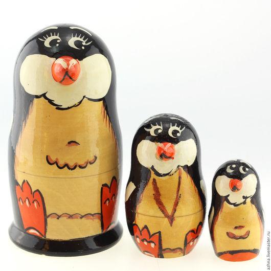 """Матрешки ручной работы. Ярмарка Мастеров - ручная работа. Купить Матрешка 3 места, """"Пингвин чёрный"""", 13.5 см. Handmade."""