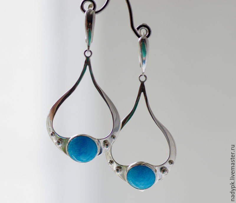 Earrings with turquoise 'Elegant', silver, Earrings, Moscow,  Фото №1