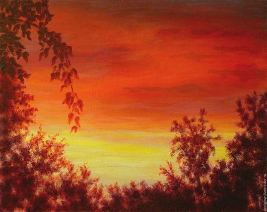 Пейзаж ручной работы. Ярмарка Мастеров - ручная работа. Купить Картина. Красный закат. Handmade. Ярко-красный, Ветвь, Живопись