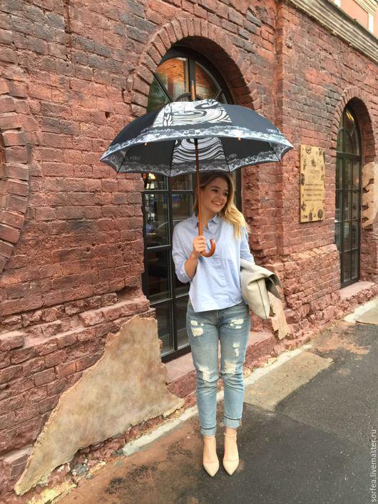 Контрасный черно-белый зонт, не в маленькую дамскую сумочку, а настоящий зонт-трость для прогулок и путешествий!