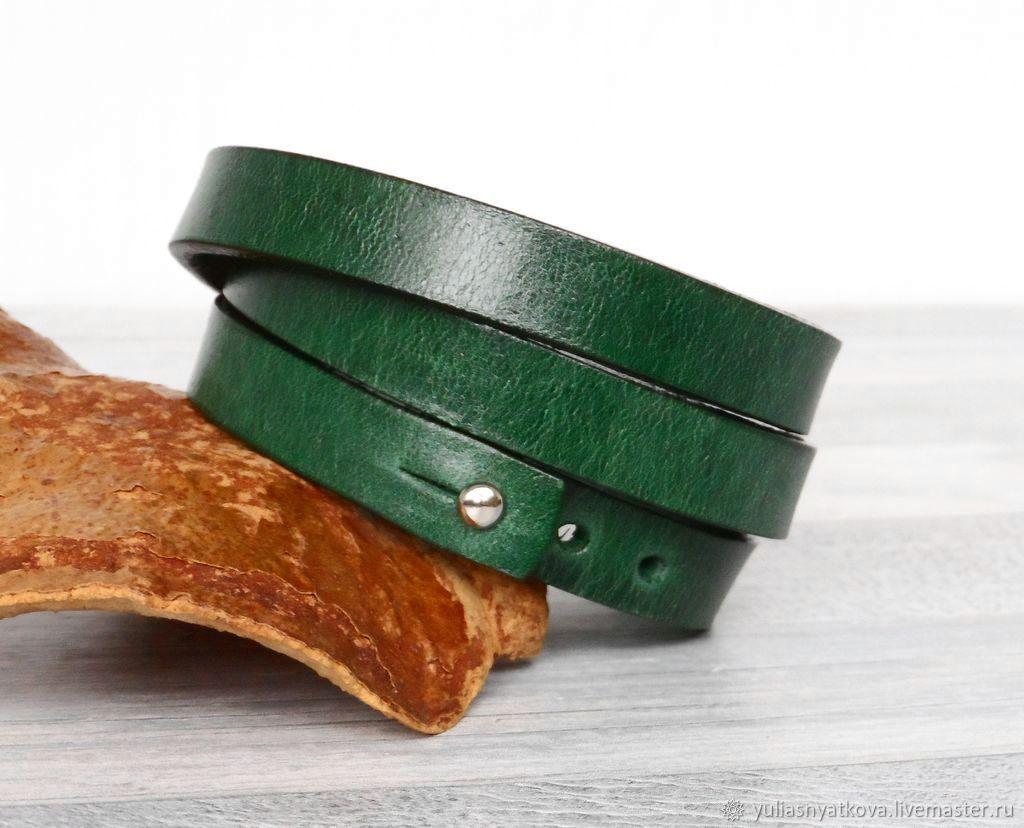 Кожаный браслет в три оборота зеленый, коричневый, красный, Браслет-шнурок, Санкт-Петербург,  Фото №1