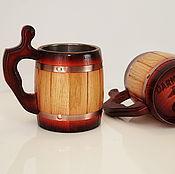 Кружка для пива Ретро деревянная Персонализированная