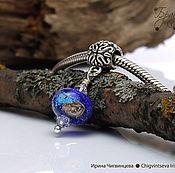 Украшения ручной работы. Ярмарка Мастеров - ручная работа Космос - 1 темно-синяя подвеска шарм лэмпворк серебро. Handmade.