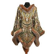 Одежда handmade. Livemaster - original item Poncho with fur trim, art. 1303-B. Handmade.