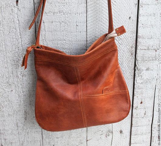 Женские сумки ручной работы. Ярмарка Мастеров - ручная работа. Купить Сумка кожаная арт 1015 рыжий. Handmade. Рыжий