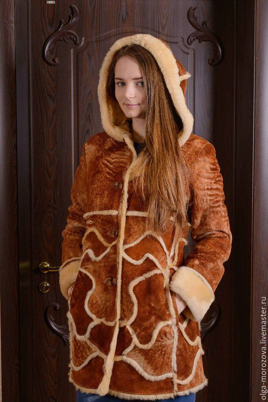 """Верхняя одежда ручной работы. Ярмарка Мастеров - ручная работа. Купить П/пальто из овчины с эффектом старения """"джангл"""". Handmade. Оранжевый"""