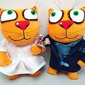 Куклы и игрушки handmade. Livemaster - original item Soft toy plush red cat bride and groom, wedding gift. Handmade.