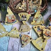 Подарки к праздникам handmade. Livemaster - original item Suspension Cheese mouse) of the Suspension on the Christmas tree decoupage. Handmade.