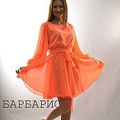 Одежда ручной работы. Ярмарка Мастеров - ручная работа Короткое вечернее платье с рукавом, оранжевое платье из шифона. Handmade.