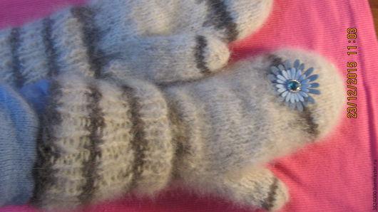 Варежки, митенки, перчатки ручной работы. Ярмарка Мастеров - ручная работа. Купить Варежки белые из собачьей шерсти № 62/16. Handmade.