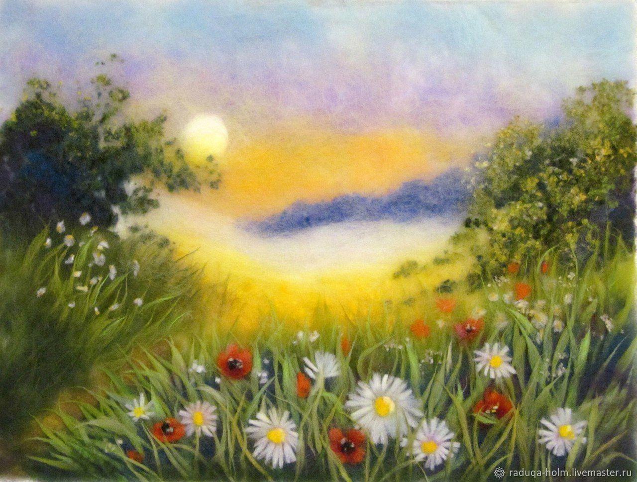 """Картина из шерсти """"Цветочная поляна"""" ручная работа, Картины, Холм, Фото №1"""