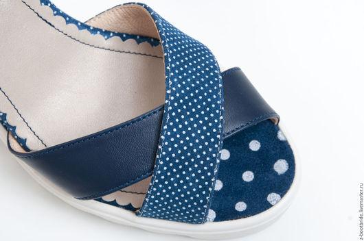 Обувь ручной работы. Ярмарка Мастеров - ручная работа. Купить Босоножки Milka. Handmade. Голубой