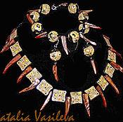 """Украшения ручной работы. Ярмарка Мастеров - ручная работа Комплект """"Хищный """" колье,серьги, браслет. Handmade."""