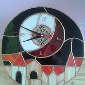 """Для дома и интерьера ручной работы. Ярмарка Мастеров - ручная работа Витражные часы """"Ночной город"""". Handmade."""