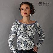 Одежда ручной работы. Ярмарка Мастеров - ручная работа Распродажа! Блуза трикотажная синие огурцы, блузка пейсли. Handmade.