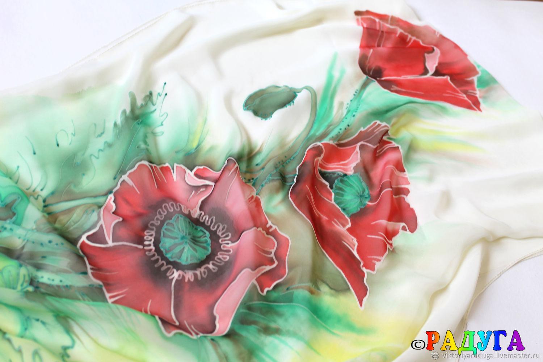 poppies, batik, batik scarf, scarf with poppies, batik scarf, scarf for painting, poppies batik, chiffon scarf, buy scarf, buy batik, buy beautiful scarf, buy gift, Studio, rainbow, Victoria