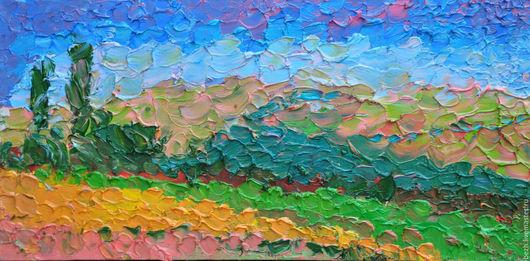 Пейзаж ручной работы. Ярмарка Мастеров - ручная работа. Купить 35х70 Поле. Тамань. объемная картина. Handmade. Комбинированный