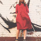 Одежда ручной работы. Ярмарка Мастеров - ручная работа Хлопковое платье из Итальянского хлопка. Handmade.